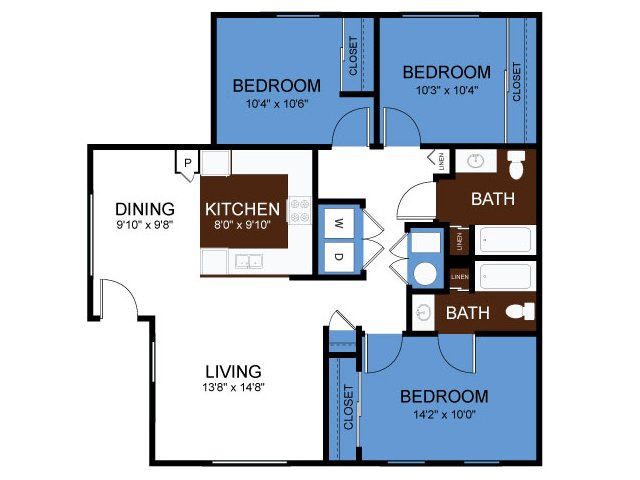 Simple Elegant for the Three Bedroom floor plan New - Popular 2 bedroom 2 bath apartment Review