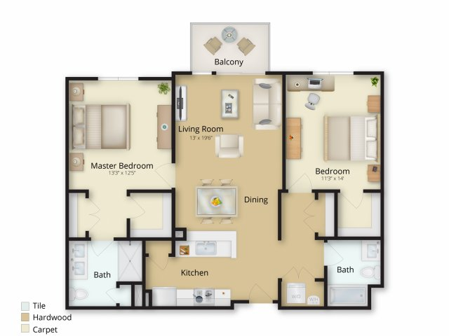 2 Bedroom Floor Plan | Brookside Square