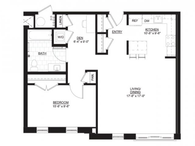 1 3 bed apartments the residences at portwalk place for Apartment floor plans 1 bedroom with den