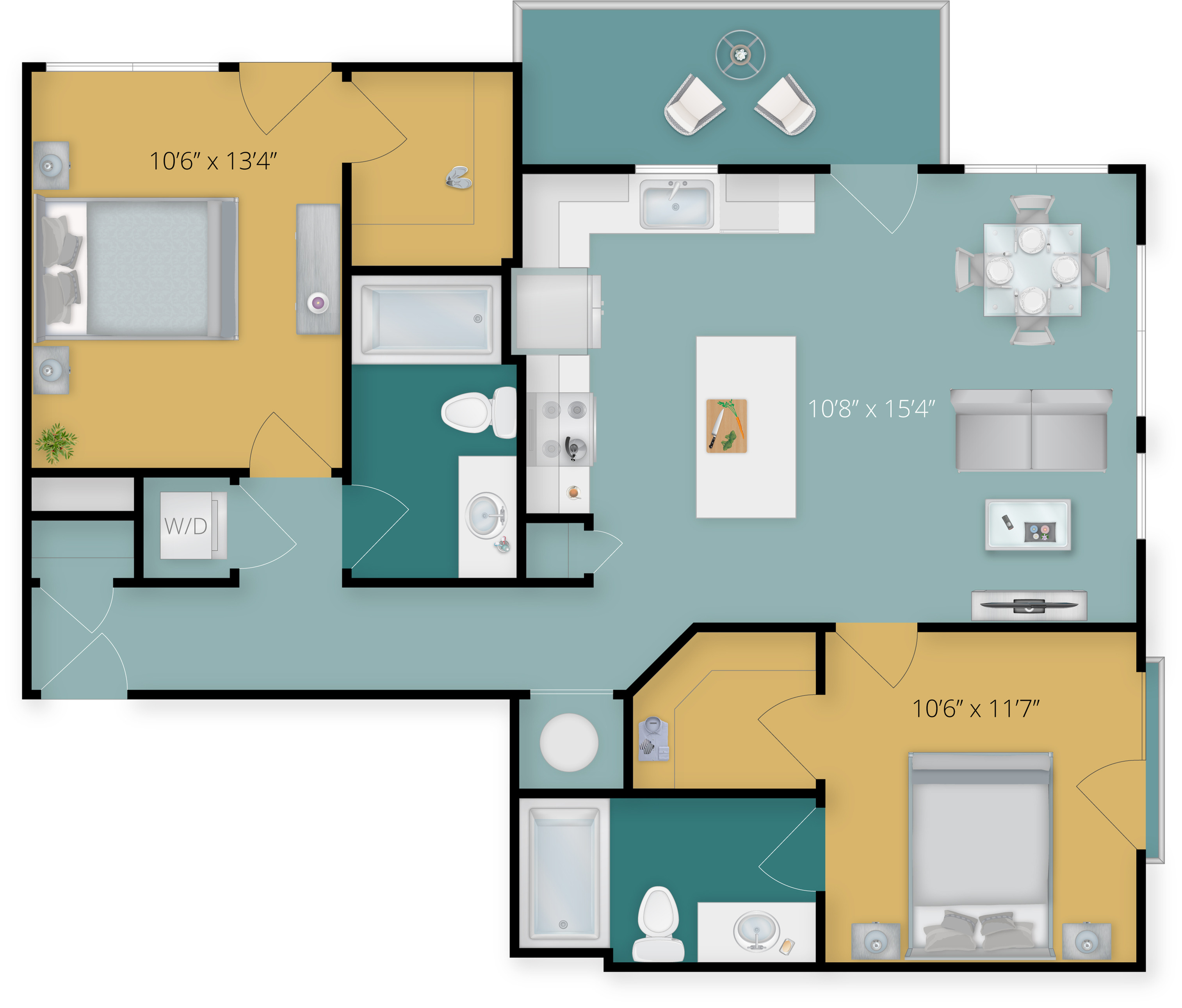 Two Bedroom Two Bath with Balcony