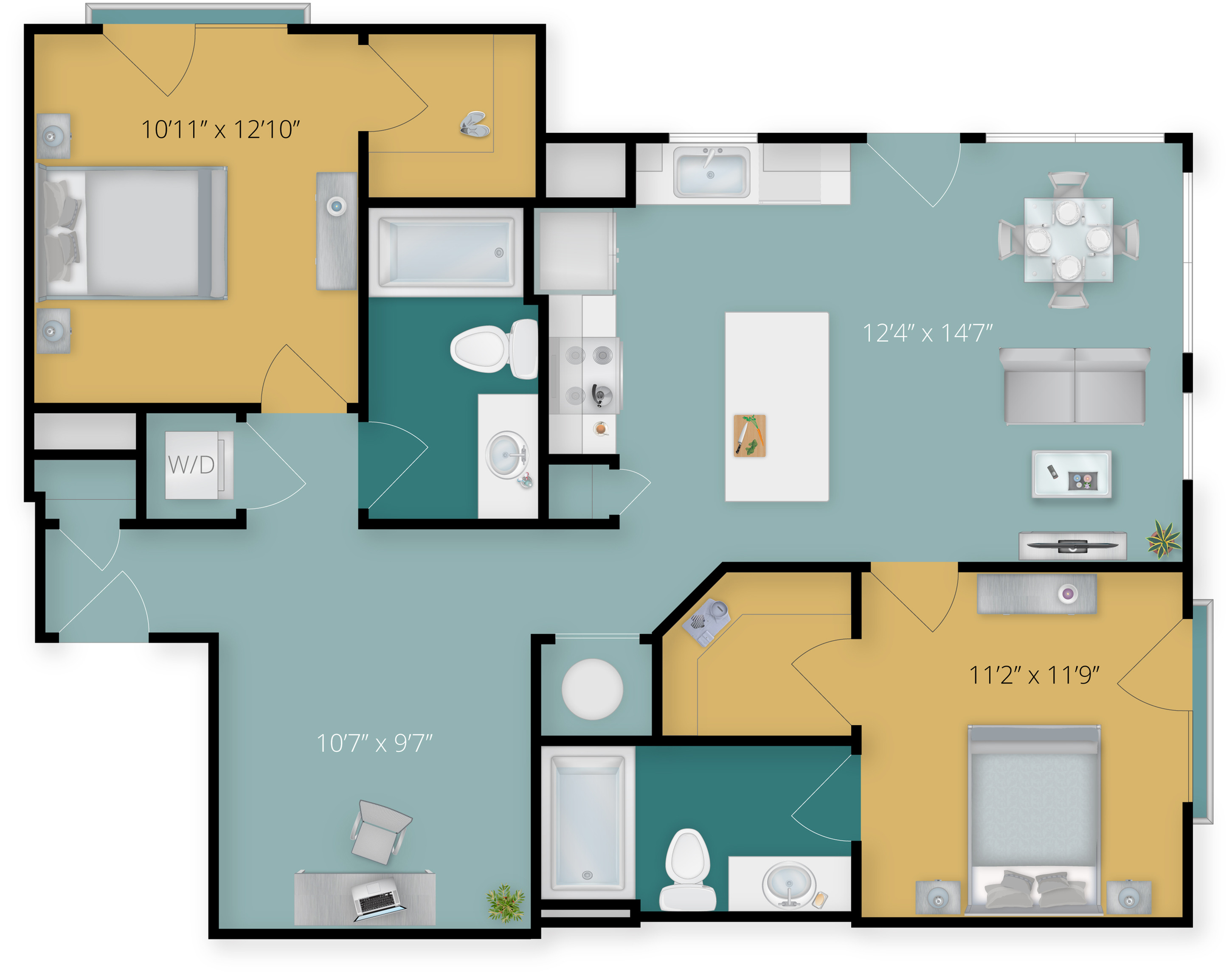 Two Bedroom with Two Bath