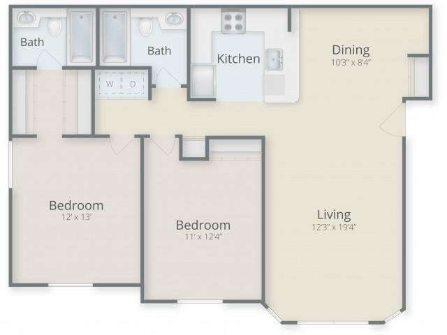 Two Bedroom / Two Bathroom Style