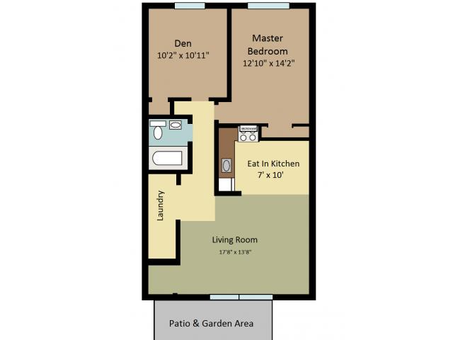 one bedroom with den. All Floor PlansOne Bedroom with Den 2 Bed  1 Bath Apartment in Clayton NJ Rustic Village Apartments