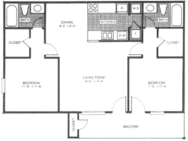 all floor plans 2 bed 2 bath lake view