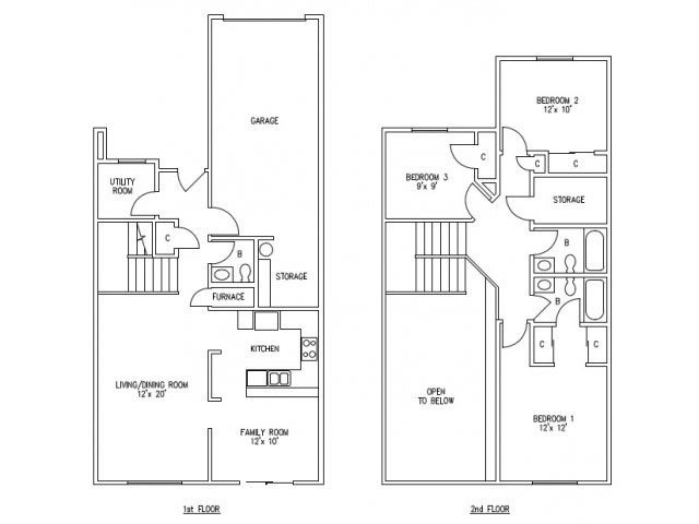 2D Floor Plan image for the 3 bedroom, 1.5 bath Floor Plan of Property Bangor Valley