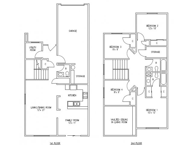 2D Floor Plan image for the 4 bedroom, 2.5 bathroom Floor Plan of Property Bangor Valley