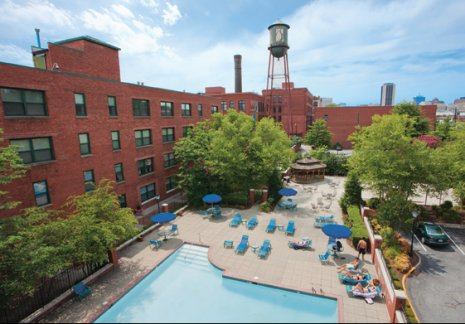 Overhead view of our stunning outdoor pool at Cameron Kinney apartments for rent in Richmond