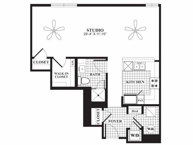 Studio one bathroom E2 floorplan at 597 Westport in Norwalk, CT