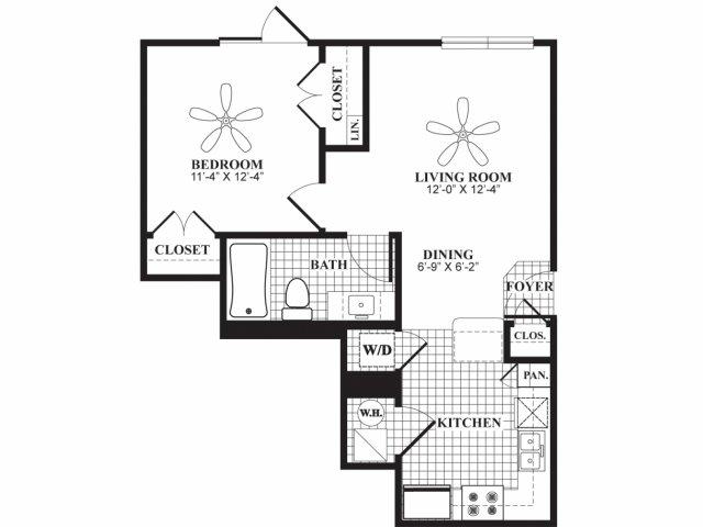 One bedroom one bathroom A1 floorplan at 597 Westport in Norwalk, CT