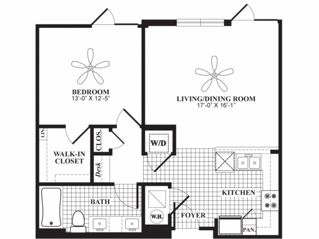 One bedroom one bathroom A3 floorplan at 597 Westport in Norwalk, CT
