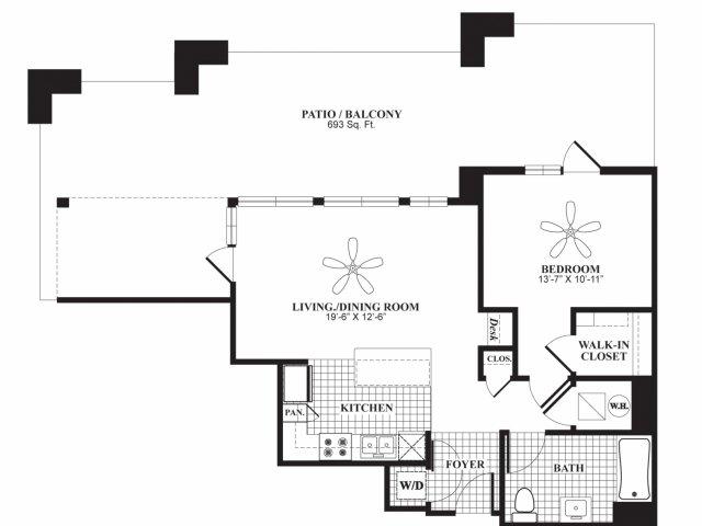 One bedroom one bathroom A4 floorplan at 597 Westport in Norwalk, CT