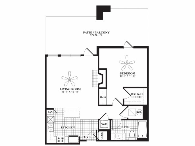 One bedroom one bathroom A5 floorplan at 597 Westport in Norwalk, CT