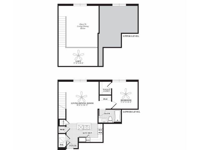 One bedroom one bathroom A6l floorplan at 597 Westport in Norwalk, CT