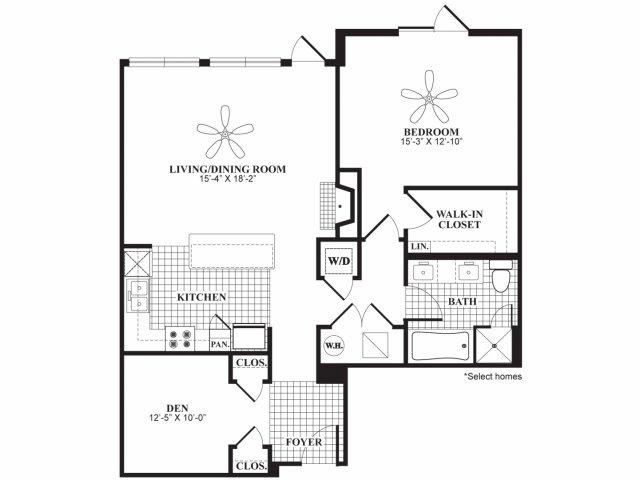 One bedroom one bathroom A9 floorplan at 597 Westport in Norwalk, CT