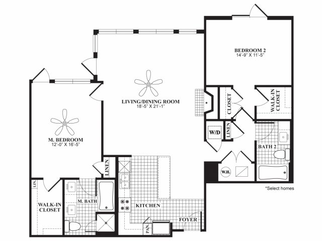 Two bedroom two bathroom B4A floorplan at 597 Westport in Norwalk, CT