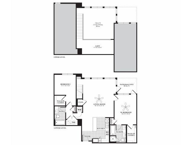 Two bedroom two bathroom B4AL floorplan at 597 Westport in Norwalk, CT