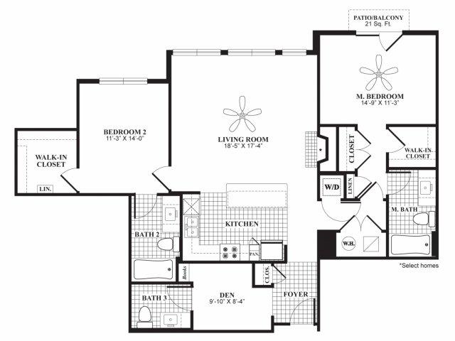 Two bedroom two and a half bathroom B5 floorplan at 597 Westport in Norwalk, CT