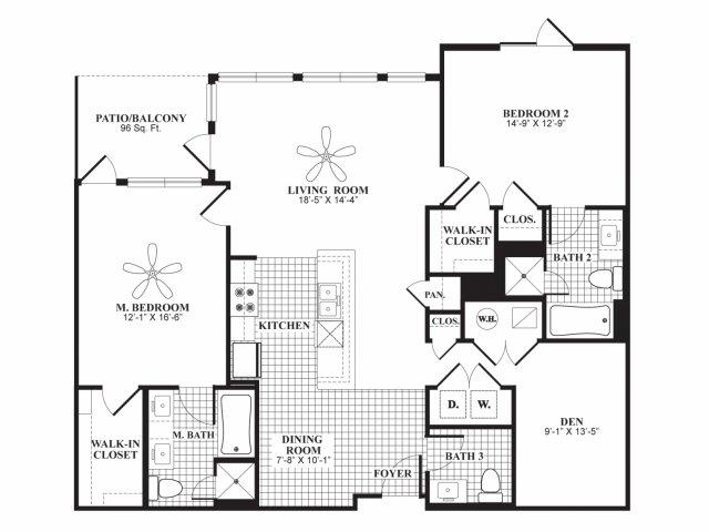 Two bedroom two and a half bathroom B7 floorplan at 597 Westport in Norwalk, CT
