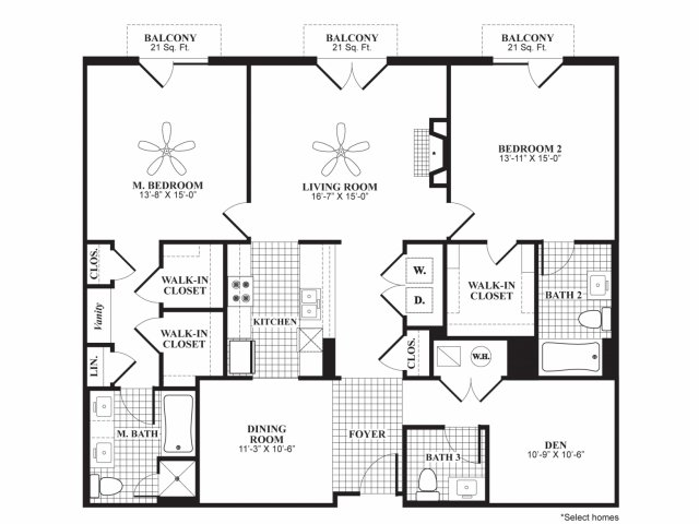 Two bedroom two and a half bathroom B9 floorplan at 597 Westport in Norwalk, CT
