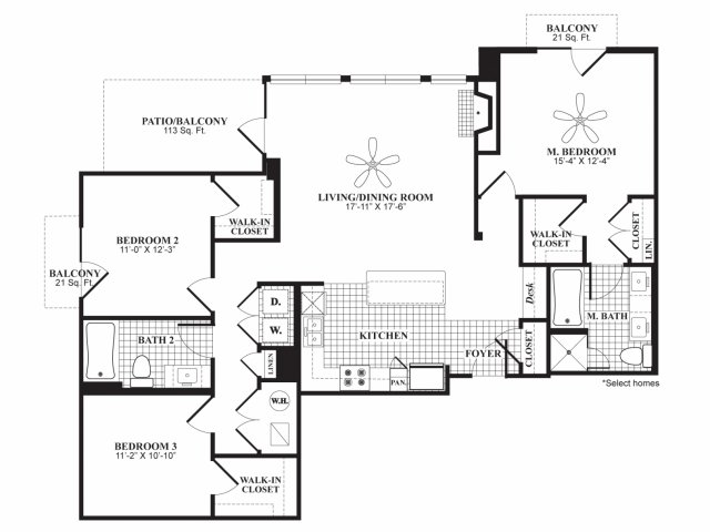 Three bedroom two bathroom C1 floorplan at 597 Westport in Norwalk, CT
