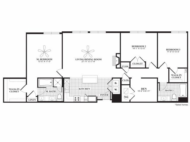 Three bedroom two bathroom C2 floorplan at 597 Westport in Norwalk, CT