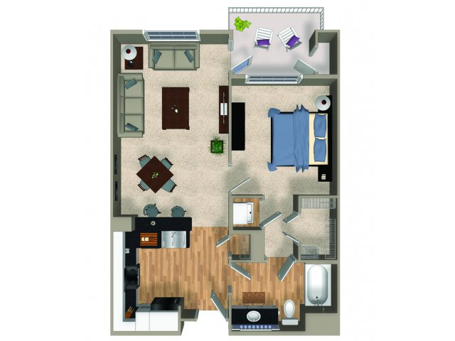 One bedroom one bathroom A1 floorplan at The Reserve Apartments in Renton, WA