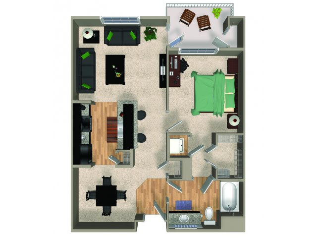 One bedroom one bathroom A2 floorplan at The Reserve Apartments in Renton, WA