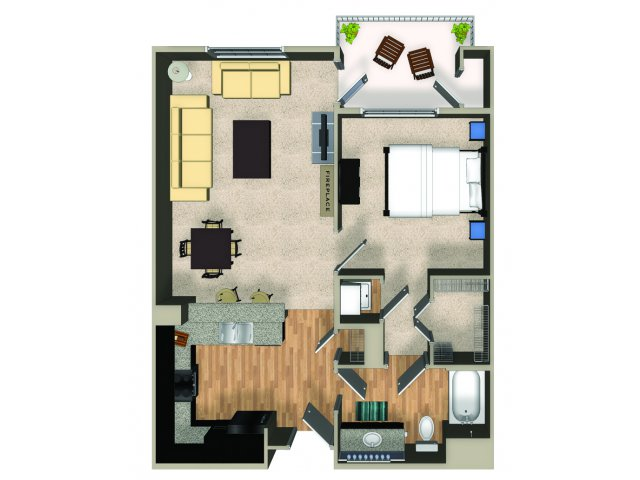 One bedroom one bathroom A3 floorplan at The Reserve Apartments in Renton, WA