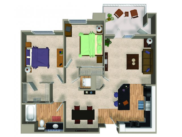 Two bedroom one bathroom B1 floorplan at The Reserve Apartments in Renton, WA