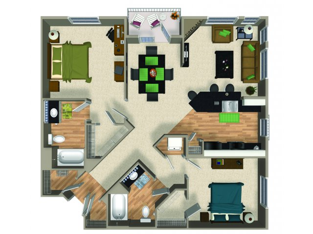 Two bedroom two bathroom B3 floorplan at The Reserve Apartments in Renton, WA