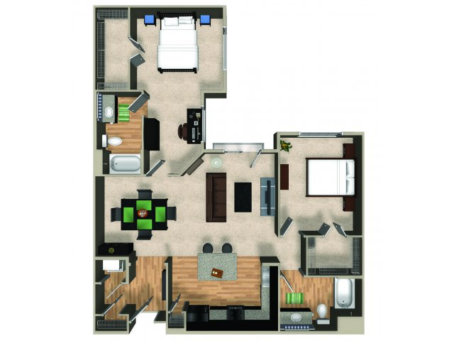 Two bedroom two bathroom B4 floorplan at The Reserve Apartments in Renton, WA
