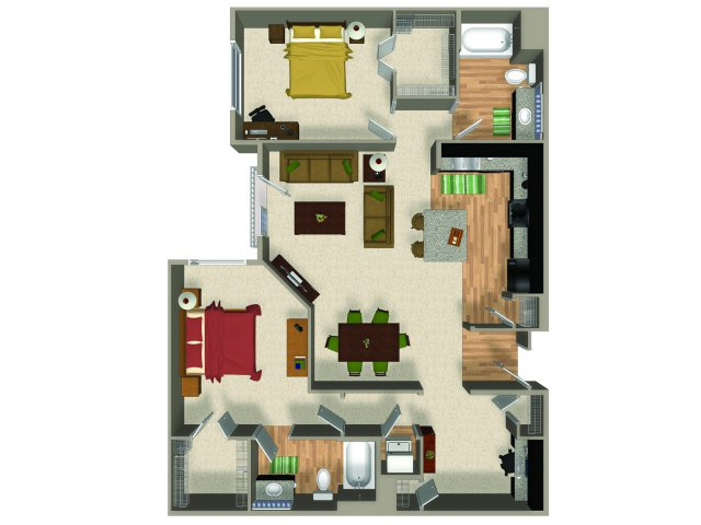 Two bedroom two bathroom B5 floorplan at The Reserve Apartments in Renton, WA