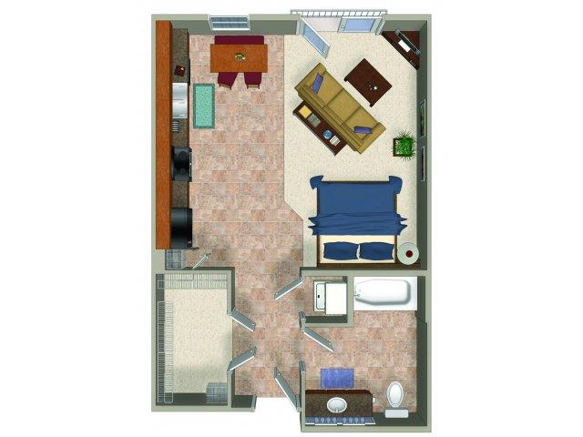 Studio one bathroom A0 Floorplan at Sanctuary Apartments in Renton, WA