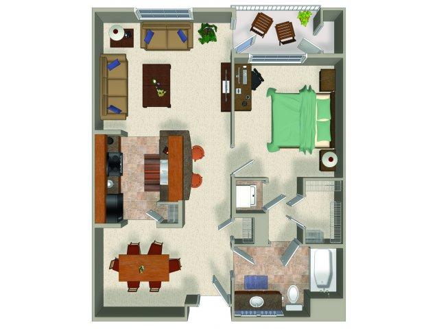 One bedroom one bathroom A2 Floorplan at Sanctuary Apartments in Renton, WA