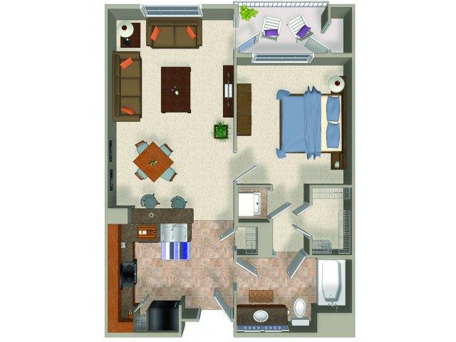 One bedroom one bathroom A1 Floorplan at Sanctuary Apartments in Renton, WA
