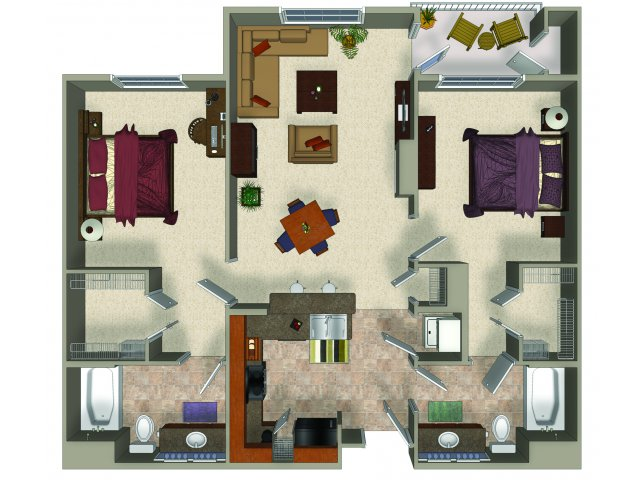 Two bedroom two bathroom B2 Floorplan at Sanctuary Apartments in Renton, WA