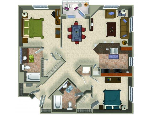 Two bedroom two bathroom B3 Floorplan at Sanctuary Apartments in Renton, WA