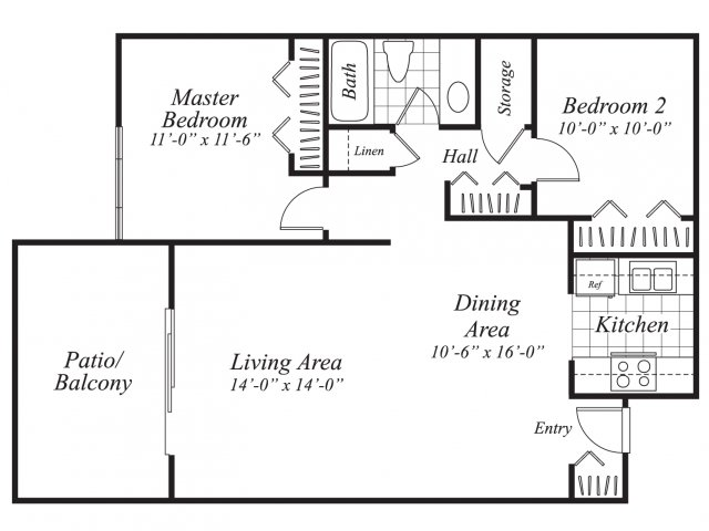 Two bedroom one bathroom B3 floor plan at Canyon Rim Apartments in San Diego, CA