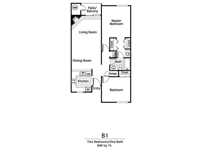Two bedroom one bathroom B1 Floorplan at Ellington Apartment Homes in Davis, CA