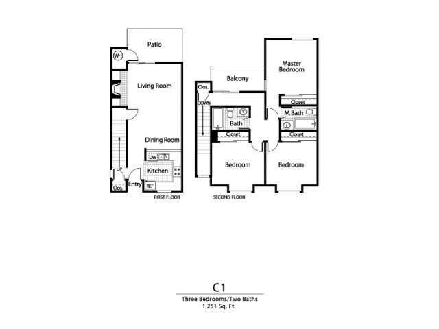 Three bedroom two bathroom C1 Floorplan at Ellington Apartment Homes in Davis, CA