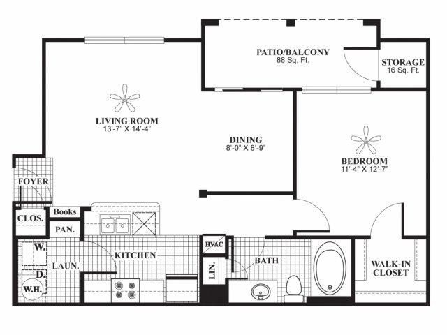 One bedroom one bathroom A2 Floorplan at Lakeland Estates Apartment Homes in Stafford, TX