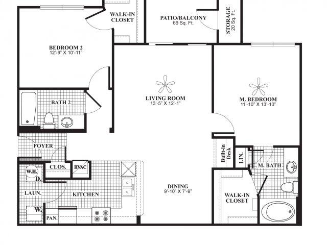 Two bedroom two bathroom B2 Floorplan at Lakeland Estates Apartment Homes in Stafford, TX