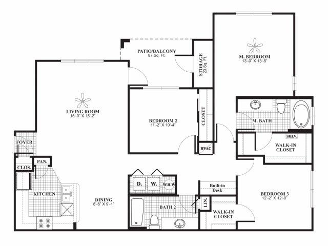 Three bedroom two bathroom B1 Floorplan at Lakeland Estates Apartment Homes in Stafford, TX