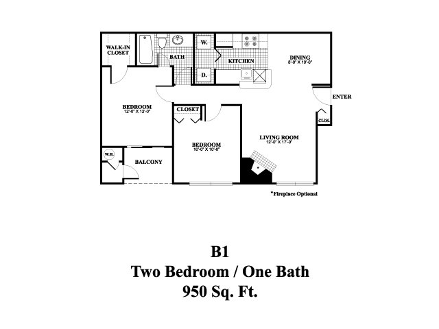 Two bedroom one bathroom B1 Floorplan at Middletown Brooke Apartments in Middletown, CT