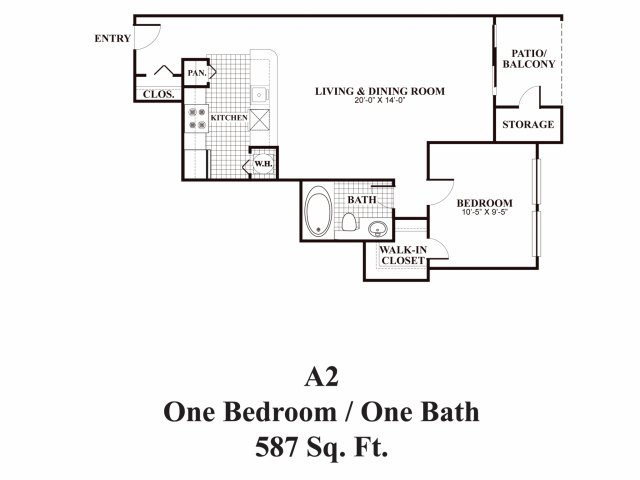 One bedroom one bathroom A2 Floorplan at Middletown Ridge Apartments in Middletown, CT