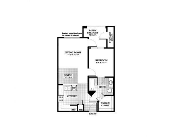 One bedroom one bathroom A1 Floorplan at Muirlands at Windemere in San Ramon, CA