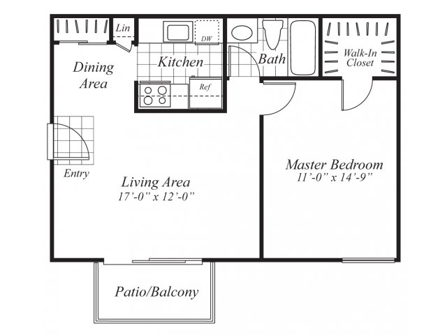 One bedroom one bathroom A4 Floorplan at Ridgemoor Apartment Homes in Lakewood, CO