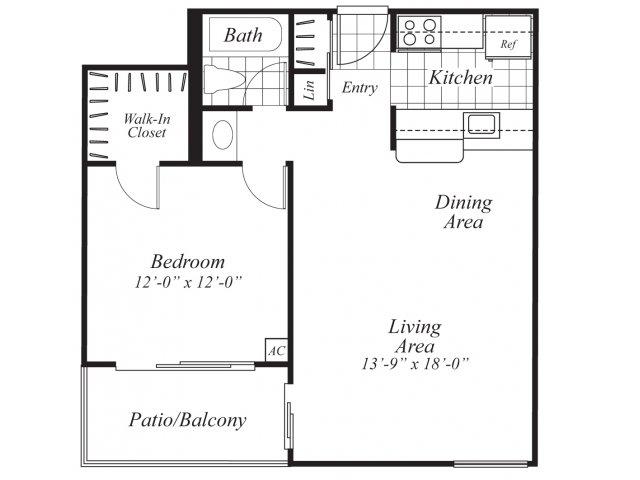 One bedroom one bathroom A1 Floorplan at Ridgemoor Apartment Homes in Lakewood, CO