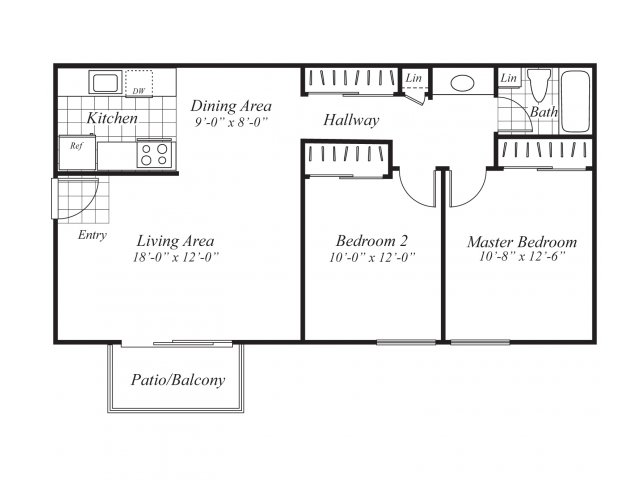 Two bedroom one bathroom A5 Floorplan at Ridgemoor Apartment Homes in Lakewood, CO