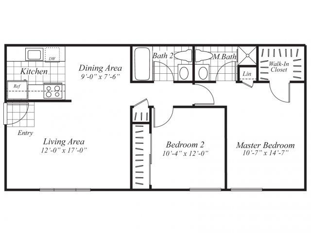 Two bedroom two bathroom B2 Floorplan at Ridgemoor Apartment Homes in Lakewood, CO